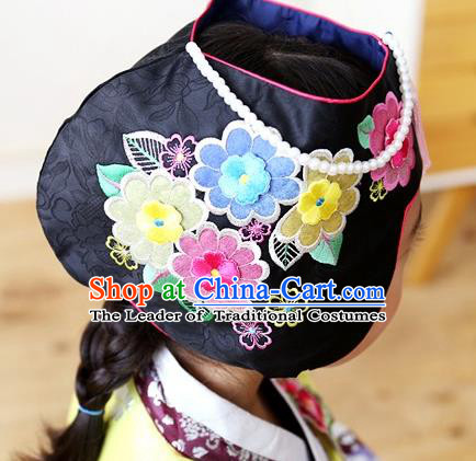 Traditional Korean Hair Accessories Bride Black Embroidered Hats, Asian Korean Fashion Wedding Headwear for Kids