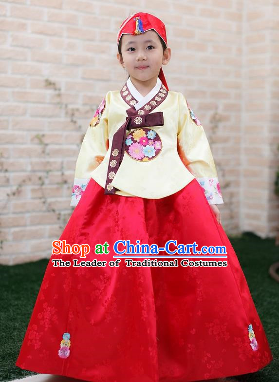 Traditional Korean Handmade Formal Occasions Embroidered Girls Wedding Costume, Asian Korean Apparel Palace Hanbok Red Dress Clothing for Kids