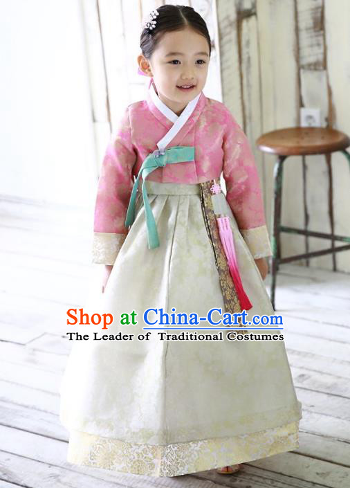 Traditional Korean Handmade Formal Occasions Embroidered Girls Wedding Costume Pink Blouse and White Dress Hanbok Clothing for Kids