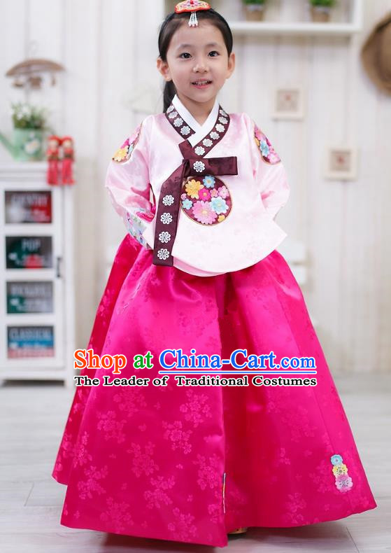 Traditional Korean Handmade Formal Occasions Embroidered Girls Wedding Costume, Asian Korean Apparel Palace Hanbok Rosy Dress Clothing for Kids