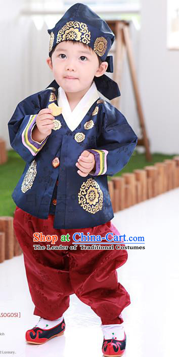 Traditional Korean Handmade Embroidered Formal Occasions Costume, Asian Korean Apparel Hanbok Clothing for Boys