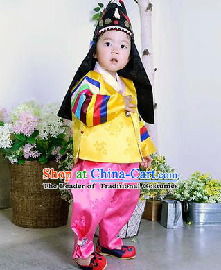 Traditional Korean Handmade Formal Occasions Embroidered Palace Prince Hanbok Yellow Clothing for Kids
