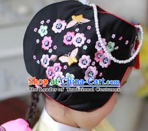 Traditional Korean Hair Accessories Embroidered Flowers Black Hats, Asian Korean Fashion Children Wedding Headwear for Girls