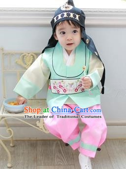Traditional Korean Handmade Formal Occasions Embroidered Baby Prince Green Hanbok Clothing