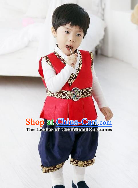 Traditional Korean Handmade Formal Occasions Costume Vest and Pants, Asian Korean Apparel Hanbok Clothing for Boys