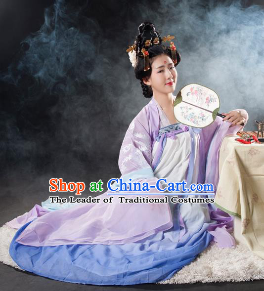 Asian China Tang Dynasty Palace Lady Embroidered Costume, Traditional Ancient Chinese Imperial Concubine Hanfu Clothing for Women