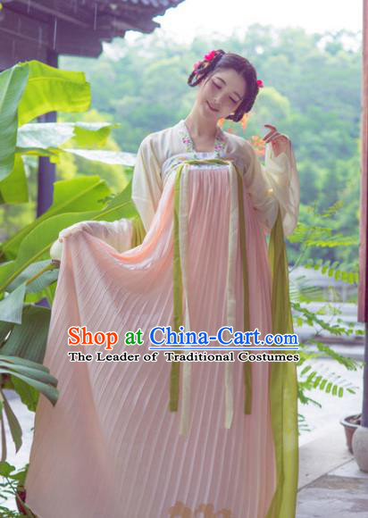 Asian China Tang Dynasty Young Lady Embroidered Costume, Traditional Chinese Ancient Hanfu Princess Clothing for Women
