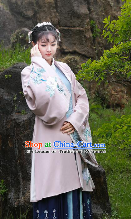 Asian China Han Dynasty Palace Lady Costume Embroidered Cloak, Traditional Chinese Ancient Princess Hanfu Cape Clothing for Women