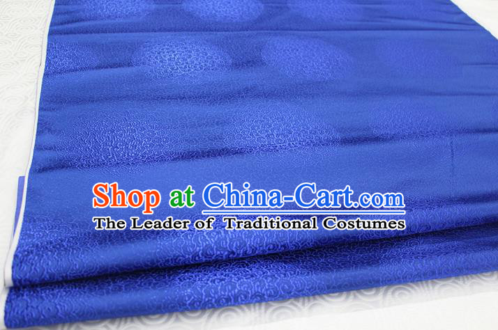 Chinese Traditional Royal Palace Mongolian Robe Royalblue Brocade Cheongsam Fabric, Chinese Ancient Costume Satin Hanfu Tang Suit Material