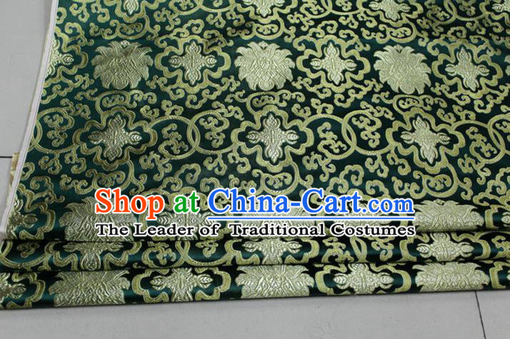 Chinese Traditional Royal Palace Golden Rich Flowers Pattern Deep Green Brocade Cheongsam Fabric, Chinese Ancient Costume Satin Hanfu Tang Suit Material