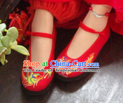 Traditional Chinese Ancient Princess Shoes Red Cloth Embroidered Shoes, China Handmade Embroidery Dragon and Phoenix Hanfu Shoes for Women