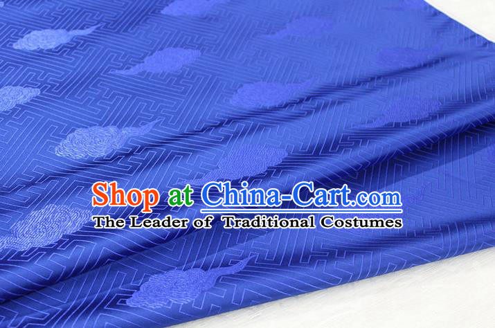Chinese Traditional Royal Palace Cloud Pattern Royalblue Brocade Mongolian Robe Fabric, Chinese Ancient Costume Satin Hanfu Tang Suit Material
