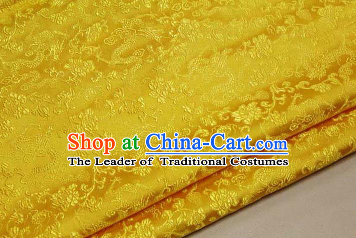 Chinese Traditional Royal Palace Dragons Pattern Tang Suit Yellow Brocade Fabric, Chinese Ancient Costume Satin Hanfu Mongolian Robe Material
