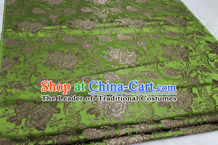 Chinese Traditional Royal Palace Rose Pattern Green Brocade Mongolian Robe Fabric, Chinese Ancient Costume Satin Hanfu Tang Suit Material