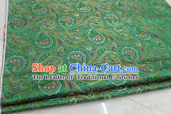 Chinese Traditional Ancient Costume Palace Pteris Pattern Mongolian Robe Green Brocade Tang Suit Fabric Hanfu Material