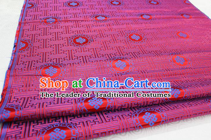 Chinese Traditional Ancient Costume Palace Blue Pattern Mongolian Robe Red Brocade Tang Suit Fabric Hanfu Material