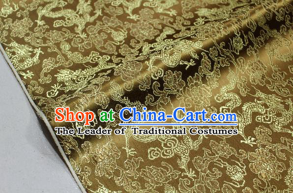 Chinese Traditional Ancient Costume Palace Dragons Pattern Mongolian Robe Bronze Brocade Tang Suit Fabric Hanfu Material