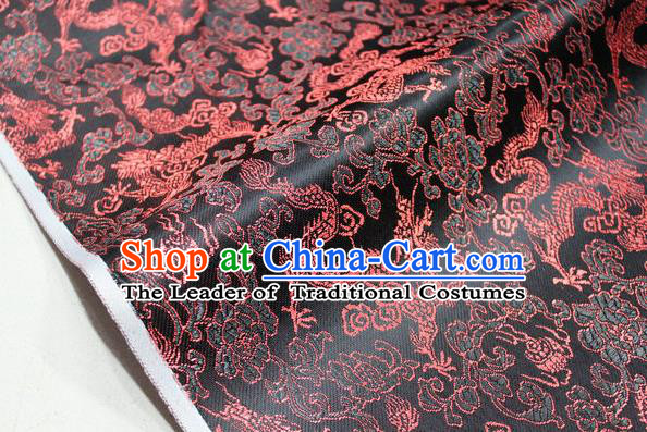 Chinese Traditional Ancient Costume Palace Dragons Pattern Mongolian Robe Black Brocade Tang Suit Fabric Hanfu Material