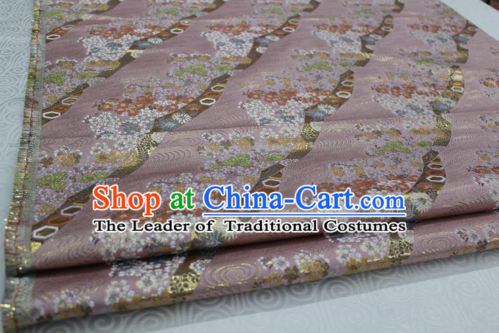 Chinese Traditional Ancient Costume Palace Kimono Pattern Mongolian Robe Pink Brocade Tang Suit Fabric Hanfu Material