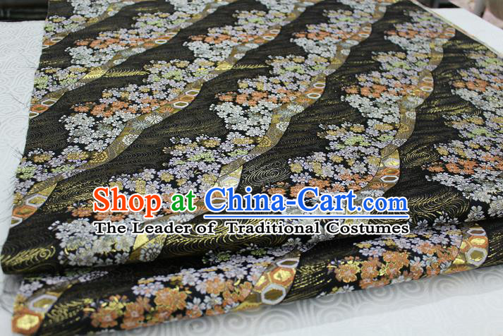 Chinese Traditional Ancient Costume Palace Kimono Pattern Mongolian Robe Black Brocade Tang Suit Fabric Hanfu Material