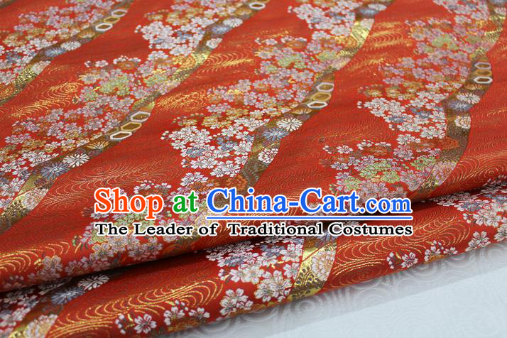 Chinese Traditional Ancient Costume Palace Kimono Pattern Mongolian Robe Red Brocade Tang Suit Fabric Hanfu Material