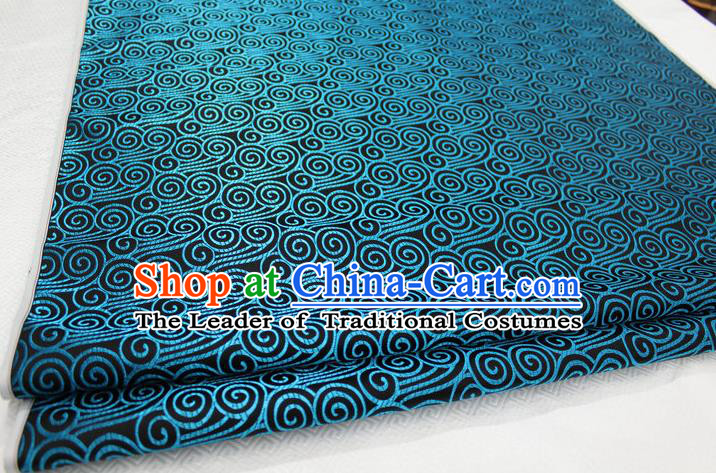 Chinese Traditional Palace Blue Auspicious Clouds Pattern Tang Suit Mongolian Robe Black Brocade Fabric, Chinese Ancient Costume Hanfu Material