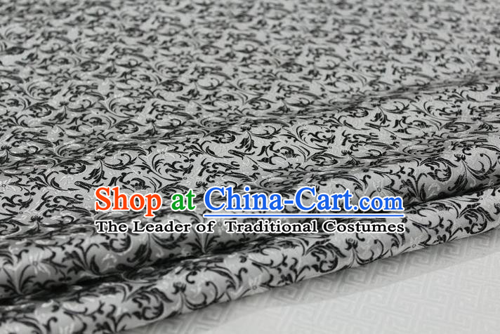 Chinese Traditional Palace Pattern Tang Suit Cheongsam White Brocade Fabric, Chinese Ancient Costume Hanfu Satin Material