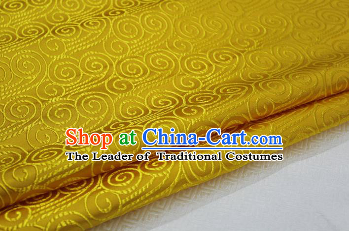 Chinese Traditional Palace Auspicious Clouds Pattern Tang Suit Mongolian Robe Yellow Brocade Fabric, Chinese Ancient Costume Hanfu Material