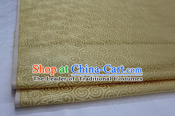 Chinese Traditional Palace Auspicious Clouds Pattern Tang Suit Mongolian Robe Light Yellow Brocade Fabric, Chinese Ancient Costume Hanfu Material