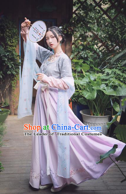 Traditional Chinese Tang Dynasty Princess Costume Ancient Palace Lady Hanfu Embroidered Dress Clothing for Women
