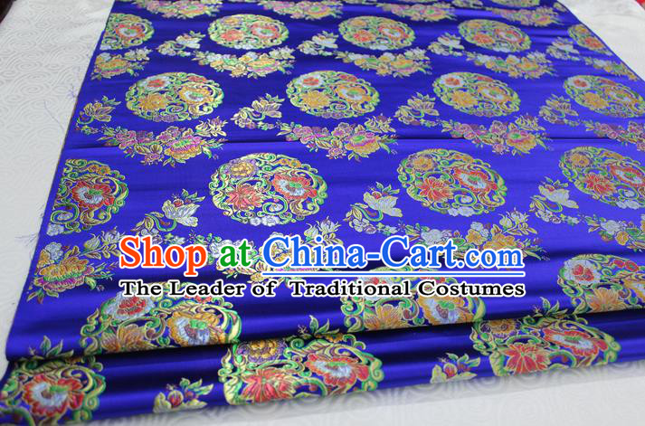 Chinese Traditional Ancient Costume Palace Round Peony Pattern Mongolian Robe Royalblue Nanjing Brocade Tang Suit Fabric Hanfu Material