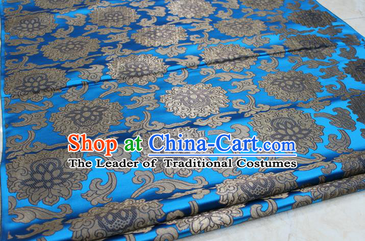Chinese Traditional Ancient Costume Palace Lotus Pattern Mongolian Robe Blue Brocade Tang Suit Fabric Hanfu Material