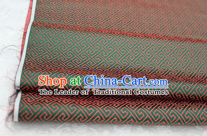 Chinese Traditional Ancient Costume Palace Red Back Pattern Green Brocade Cheongsam Satin Mongolian Robe Fabric Hanfu Material