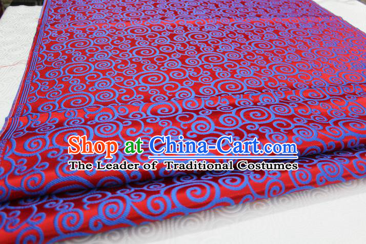 Chinese Traditional Ancient Costume Palace Clouds Pattern Red Brocade Cheongsam Satin Mongolian Robe Fabric Hanfu Material