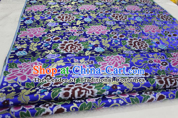 Chinese Traditional Ancient Costume Palace Peony Pattern Xiuhe Suit Royalblue Brocade Cheongsam Satin Mongolian Robe Fabric Hanfu Material