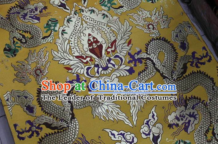 Chinese Traditional Ancient Costume Palace Dragons Pattern Mandarin Jacket Tibetan Robe Yellow Brocade Tang Suit Fabric Hanfu Material