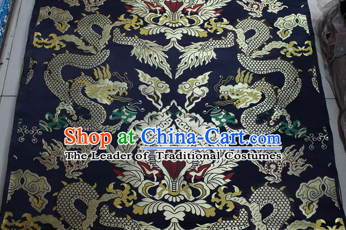 Chinese Traditional Ancient Costume Palace Dragons Pattern Mandarin Jacket Tibetan Robe Navy Brocade Tang Suit Fabric Hanfu Material