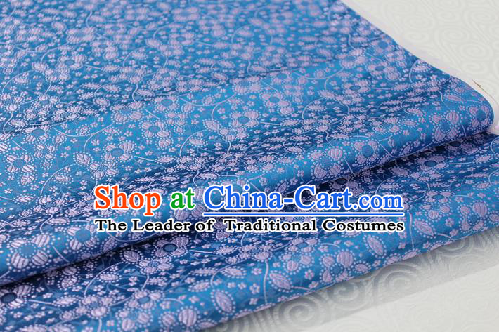 Chinese Traditional Ancient Costume Palace Pattern Cheongsam Tibetan Robe Blue Brocade Tang Suit Fabric Hanfu Material