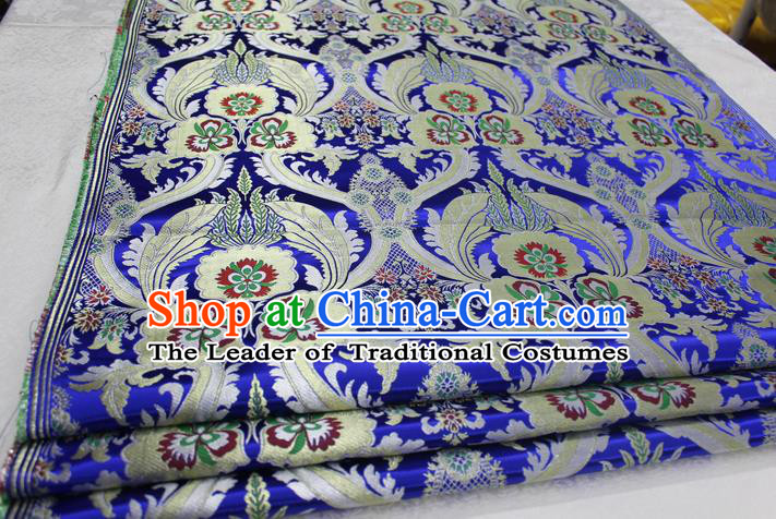 Chinese Traditional Ancient Costume Palace Pattern Cheongsam Tibetan Robe Royalblue Brocade Tang Suit Fabric Hanfu Material