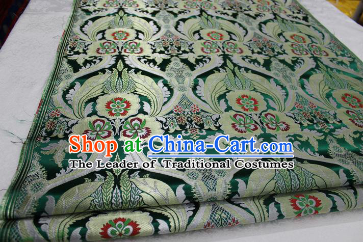 Chinese Traditional Ancient Costume Palace Pattern Cheongsam Tibetan Robe Green Brocade Tang Suit Fabric Hanfu Material