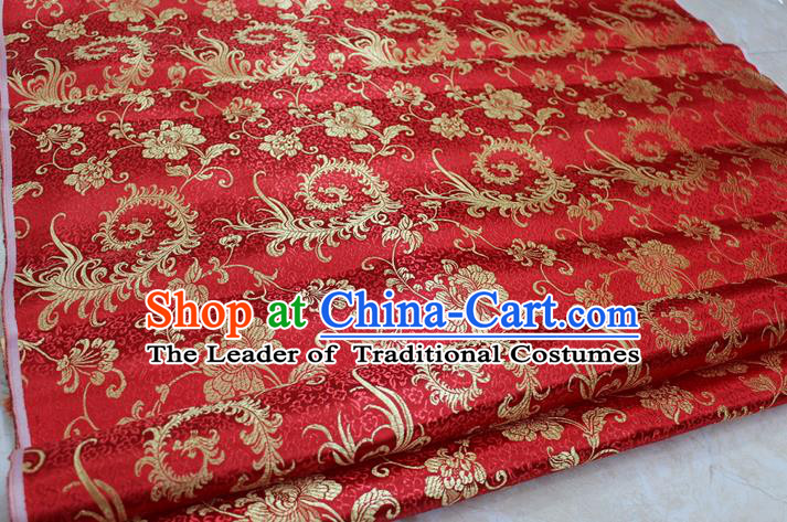 Chinese Traditional Ancient Costume Palace Pteris Pattern Cheongsam Red Brocade Tang Suit Satin Fabric Hanfu Material