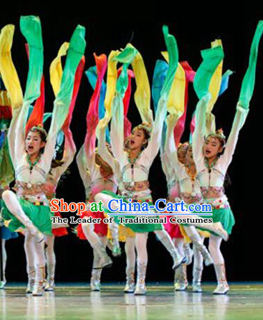Traditional Chinese Yangge Fan Dance Costume, Folk Dance Drum Dance Water Sleeve Uniform Yangko Clothing for Kids