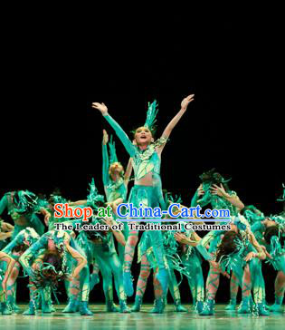 Traditional Chinese Classic Stage Performance Green Costume, Chinese Modern Dance Dress Clothing for Kids