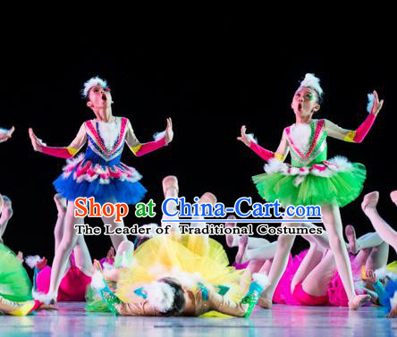 Traditional Chinese Classic Stage Performance Dance Costume, Chinese Ballet Dance Dress Clothing for Kids