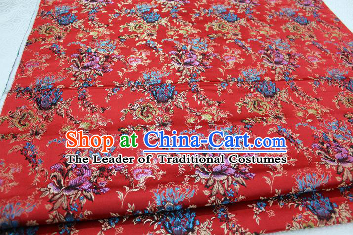 Chinese Traditional Ancient Costume Palace Flowers Pattern Xiuhe Suit Red Brocade Cheongsam Satin Fabric Hanfu Material
