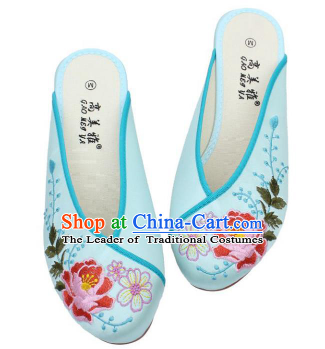 Traditional Chinese National Light Blue Embroidered Shoes, China Handmade Embroidery Peony Hanfu Slippers for Women