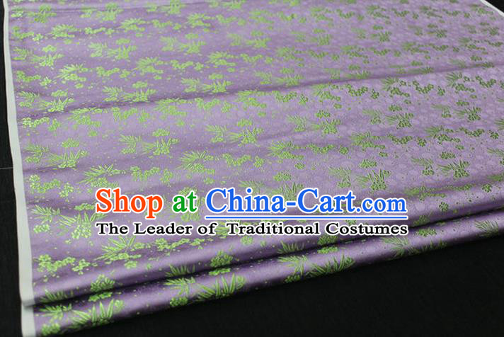Chinese Traditional Ancient Costume Palace Bamboo Pattern Cheongsam Lilac Brocade Xiuhe Suit Satin Fabric Hanfu Material