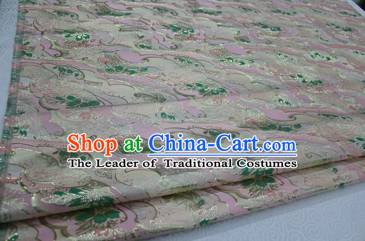 Chinese Traditional Ancient Costume Palace Pattern Kimono Cheongsam Pink Brocade Tang Suit Satin Fabric Hanfu Material