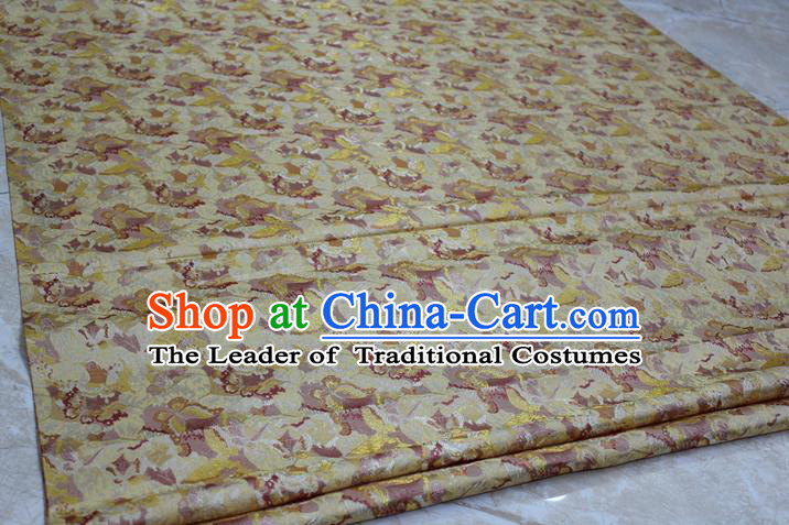 Chinese Traditional Ancient Costume Palace Flowers Pattern Kimono Yellow Brocade Tang Suit Satin Cheongsam Fabric Hanfu Material