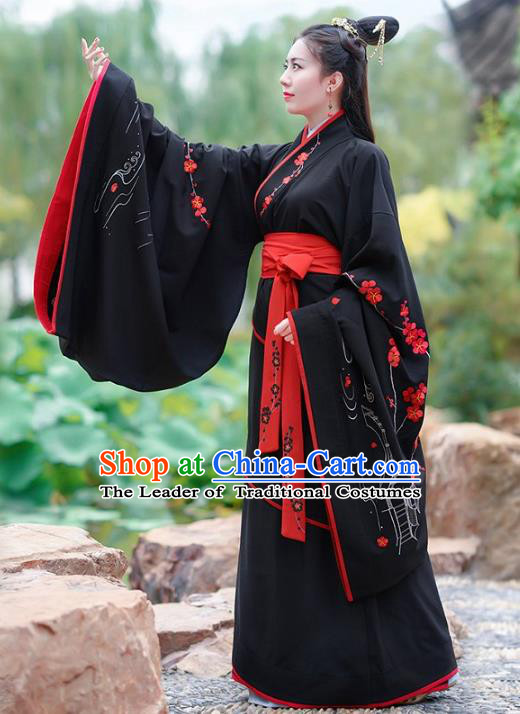 Traditional Chinese Ancient Han Dynasty Palace Lady Imperial Princess Hanfu Embroidered Clothing for Women